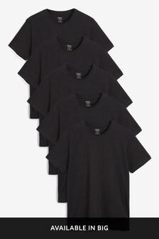 Black Regular Fit Crew Neck T-Shirts Five Pack