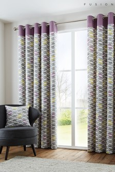 Copeland Geo Eyelet Lined Curtains by Fusion