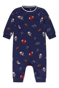 Baby Boys Navy Cotton Coverall