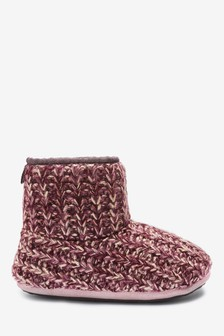 Berry Knitted Slipper Boots
