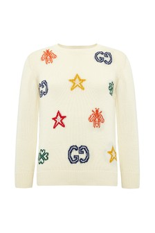 Boys White Cotton Jumper