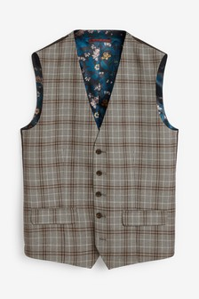 Grey Waistcoat Check Skinny Fit Suit