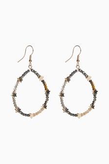 Gold Tone Star Beaded Circle Earrings
