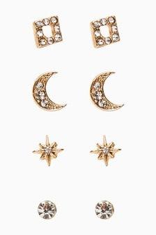 Gold Tone Star Stud Stacker Earring Pack