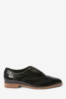 Black Patent Signature Forever Comfort® Leather Square Toe Lace-Up Brogues