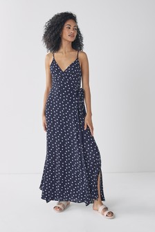 Navy Spot Wrap Maxi Dress
