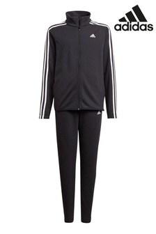 adidas Black 3 Stripe Tracksuits