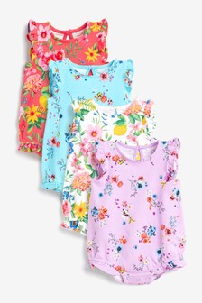 Bright Floral 4 Pack Bubble Hem Rompers (0mths-3yrs)