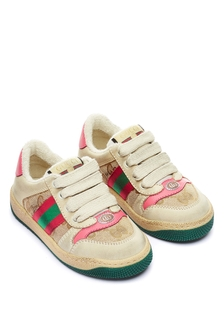 Kids Beige And Pink Leather Screener Trainers