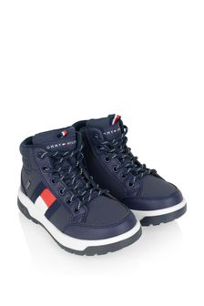 Boys Navy Logo Flag Boots