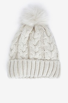 Oatmeal Sparkle Cable Knit Pom Hat