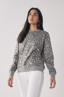 Charcoal Animal Metallic Printed Sweatshirt