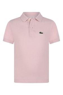 Boys Cotton Pink Short Sleeves Polo Top