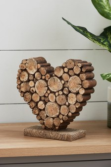 Wood Effect Heart Ornament