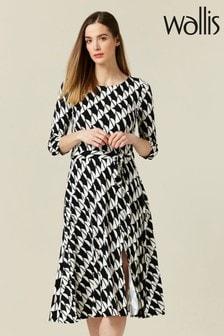Wallis Black Geometric Print Jersey Midi Dress