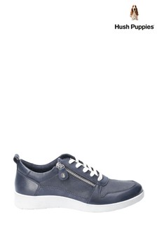 Hush Puppies Blue Roo Zip Up Lace-Up Trainers