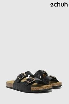 Schuh Black Trust Croc Leather Double Buckle Sandals