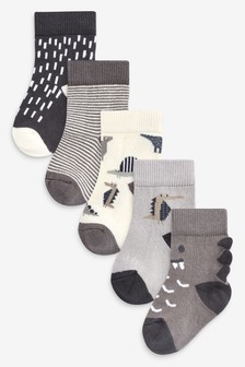 Monochrome 5 Pack Dinosaur Socks (Younger)