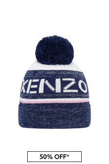 Girls Navy Cotton Bobble Hat