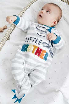 Blue Dinosaur Little Brother Sleepsuit (0-18mths)