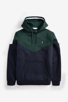 Green/Navy  Blocked Overhead Hoody