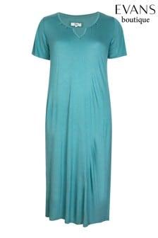 Evans Green Sage Keyhole Detail Long Night Dress