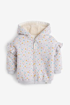 Grey Spot Fleece Lined Hoody Soft Touch Jersey (3mths-7yrs)
