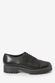 Black Leather Forever Comfort® Chunky Sole Lace-Ups