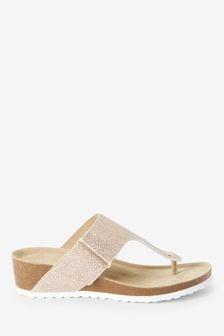 Rose Gold Forever Comfort® Toe Post Footbed Wedge Sandals