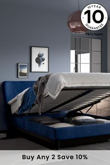 Opulent Velvet  Navy Wilson Ottoman Storage Bed