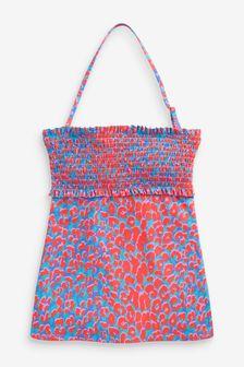 Bright Animal Tankini Top Shirred Swimwear