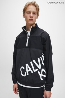 Calvin Klein Jeans Black Stretch Logo Track Jacket