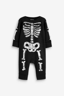 Monochrome Halloween Skeleton Footless Sleepsuit (0mths-3yrs)