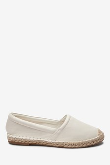 Ecru Slip-On Espadrille Shoes