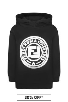 Kids Black Cotton Hooded Logo Sweater