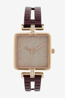 Berry Croc Effect Square Split Strap Watch