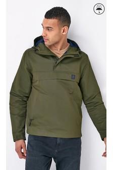 Khaki Shower Resistant Colourblock Overhead Jacket With Mesh Lining