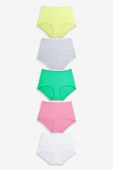 Pink/Green/Yellow/Grey Marl Full Brief Cotton Knickers Five Pack