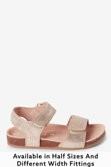 Gold Leather Standard Fit (F) Sandals (Younger)