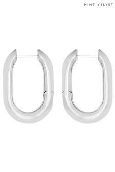 Mint Velvet Silver Tone Chunky Oval Earrings