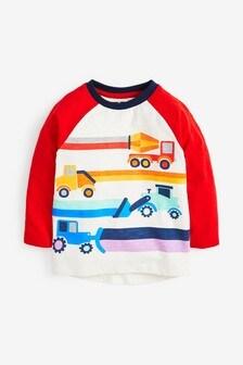 Multi Long Sleeve Raglan Transport T-Shirt (3mths-7yrs)