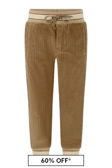 Boys Brown Cotton Joggers