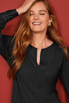 Monochrome Spot Keyhole Long Sleeve Blouse