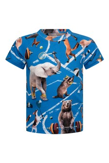 Baby Boys Blue Athletic Animals Organic Cotton T-Shirt