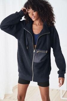 Navy Longline Borg Zip Jacket