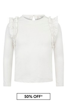 Girls Ivory Organic Cotton Frill Trim T-Shirt