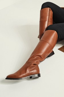 Tan Signature Flat Riding Boots