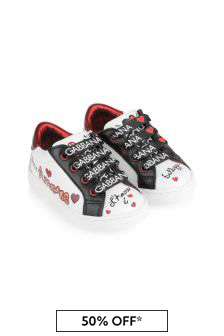 Baby Girls White Leather Logo Pre-Walkers