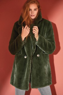 Khaki Faux Fur Revere Pea Coat