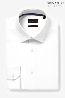 White Slim Fit Single Cuff Signature Textured Shirt With Trim Detail